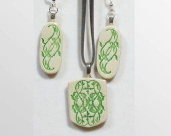 Handmade ceramic earring and pendant set