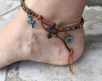 Hummingbird Anklet Dragonfly Anklet Flower Anklet Bohemian Leather Ankle Bracelet Boho Chic Leather Jewelry Cute Anklet Made in USA