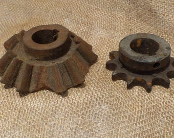 Metal Gears, Industrial Chic Salvage, Cogs or Sprockets, Vintage Factory Gears