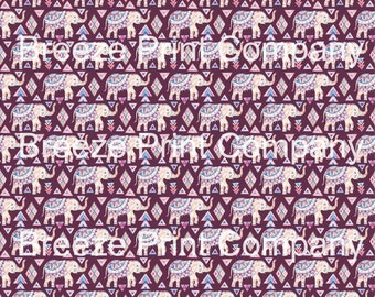 Elephant pattern printed craft vinyl sheet - HTV or Adhesive Vinyl -  watercolor tribal HTVWC25