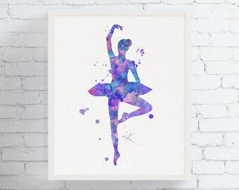 Watercolor Ballerina Print - Ballerina Art - Watercolor Dancer Print - Ballerina Wall Decor - Ballet - Dancer Gifts, Girls Room Decor,  Art