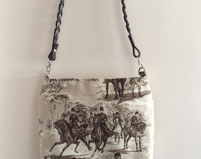 Brown and Tan Horse Equestrian Foxhunt Sidesaddle  Purse  Shoulder Handbag