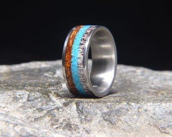 Curly Koa Turquoise Antler Inlay Titanium Wedding Band or Unique Gift Ring