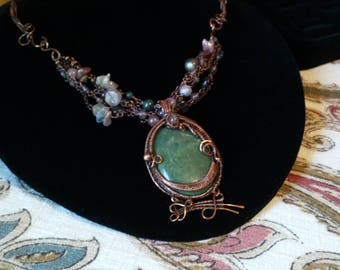 Copper and Stone Artisan Necklace, Artist Made Jewelry, Nature Inspired