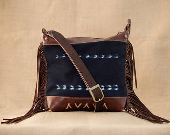 Brown Leather Cross Body Bag - Brown Leather Fringe Bag - Brown Leather Shoulder Bag - Festival Fringe Bag