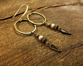 Boho Earrings, Pearl Earrings, Hoop Earrings