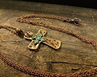 Cross Necklace, Copper Necklace, Boho Necklace, Pendant Necklace
