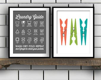 Laundry Print Set - Mud Room Set - Laundry Room Decor - Laundry Sign - Laundry Guide