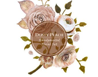 Dusty Peach Blush Watercolour Floral Flower Clipart 300dpi PNG Handpainted Graphics Vintage DIY Invitation Roses Flowers InsideMyNest