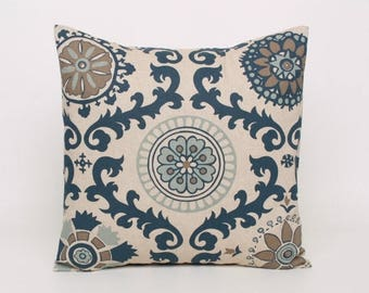 ON SALE Indigo Blue and Shades of Brown in Premier Prints Laken Fabric in the Rosa Medallion Pattern.  Designed to fit 16, 18, 20 or 22 Inch