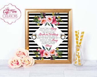 Bridal Shower Ring Game, Bridal Shower Games, Ring Game Sign, Ring Game, Printable Ring Game Sign