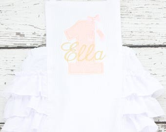 Pink and Gold Sunsuit Monogrammed, First Birthday Ruffle Bubble, Ballet Birthday Outfit, Princess First Birthday Bubble,