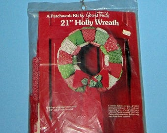 SALE Vintage New 21 inch Holly Wreath Complete Kit Yours Truly