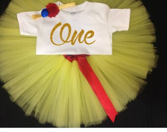 Yellow First Birthday Outfit, First Birthday Tutu Set, Snow White Birthday Tutu,1st  Birthday Shirt, Girls Birthday Outfit,  1st Bday Tutu