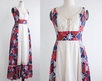 Vintage Hippie Dress, Country Chic Festival Maxi Dress, Sleeveless Patchwork Dress, Long Corset Dress Size M Medium
