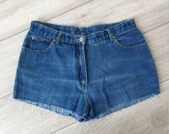 Vintage 1980's Western Trading Cut Off Mini Frayed Shorts M / Medium L / Large 10 12 14  / FREE UK SHIPPING