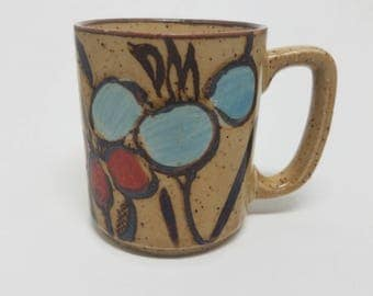 Cute Otigari Style Vintage Abstract Floral Mug -Stoneware Speckled