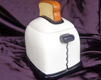 COOKIE JAR ~  Toaster with slice of Bread Handle.  White,  Fine quality