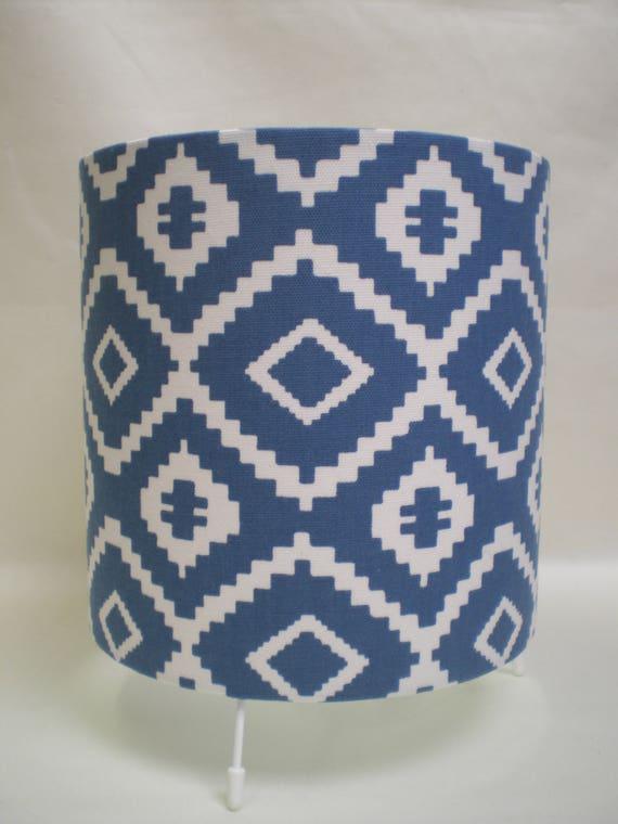 Handmade Drum Table Lamp - John Lewis Nazca Fabric - Indian Blue