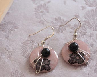 Pink lace earrings black and silver