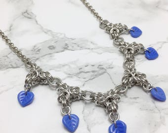Beaded Chainmaille Necklace - Byzantine Point Necklace - Chainmaille Jewelry - Blue Jewelry - Blue Leaf Beaded Necklace - Unique Necklace