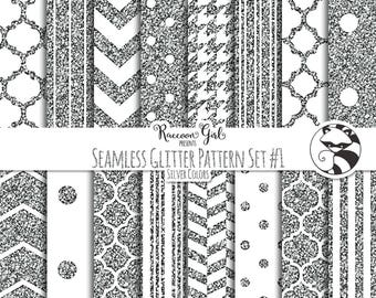 Seamless Glitter Pattern Set #1 in Silver Digital Paper Set - Personal & Commercial Use