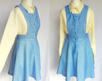 SALE Vintage 60s 70s Mod Lolita Blue & White Gingham Check Pinafore Mini Dress Small
