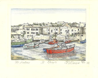 Isles Of Scilly - Watercolour Paintings - The Harbour - St Mary's Seascape - G Elsmore - Island Landscapes - Signed Limited Editions 1988