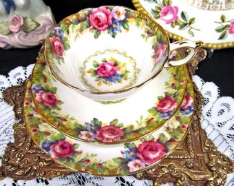Paragon tea cup and saucer Tapestry Rose pattern teacup trio roses floral design