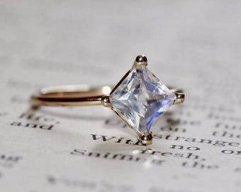 14K Princess Moonstone Ring, Square Moonstone Ring, Engagement Ring, Promise Ring, Solitaire Ring, Diamond Shape, Dainty Jewelry
