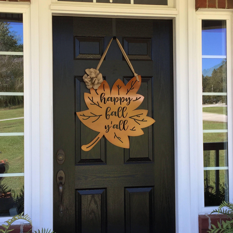 front door wreath hangerHappy Fall Yall Leaf Door Hanger  Fall Door Wreath  Front Door