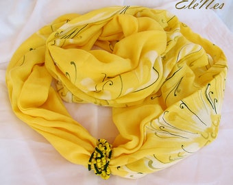 Hand painted viscose yellow infinity scarf-ring with chrysanthemum - Handpainted Boho style scarf-snood with white flowers - Fall accessory