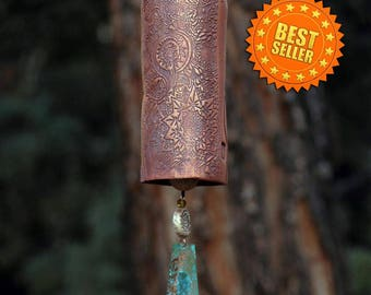 Wind Chimes Garden Bell Handmade Ceramic Bird Sculpture Garden Art Patina Copper Wind Sail Chime Pottery Starburst Pattern IN STOCK!