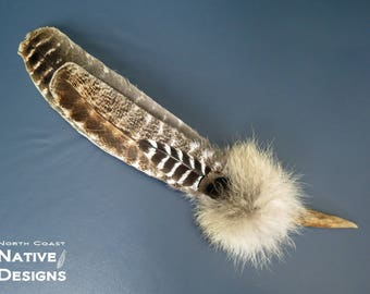 Smudge Feather Fan with Deer Antler handle