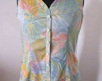 Sleeveless, cotton flower print blouse size 38