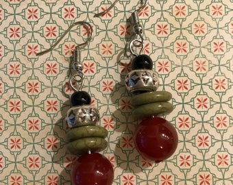 Drop earrings using tibetan silver brass and natural stone accents