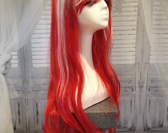 Candy Cane Long Wavy Wig Red & White Wig Handmade Long Bangs Cosplay Rave Hair #12