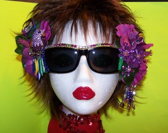 Decorated Rhinestone Parrot Beach Luau Party Parrothead Concert Fun Gift Sunglasses