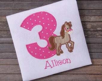 Embroidered Horse Birthday Shirt, Girls Birthday T-shirt, Little Girls Birthday Outfit, Horse Shirt, Personalized birthday shirt