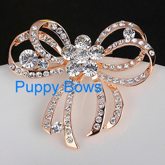 Puppy Bows ~Small GOLD rhinestone crystal double looped bowknot dog bow  pet hair clip barrette