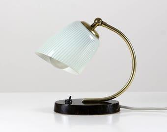 30s bedside lamp, marble base lamp, white mint striped, glass lamp, art deco lamp