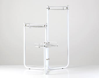 Marble plant stand, flower rack, Mid Century flower table, 60s metal rack, vintage plant stand