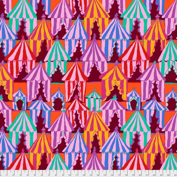 Pre-Order GLAMPING RED Brandon Mably PWBM066.BLUEX Sold in 1/2 yard increments