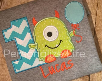 Monster Birthday Shirt/first Birthday/Monster 1st Birthday Shirt/Boy's Birthday Shirt/Boys Monster Birthday Shirt/Monster Party/Chevron ONE