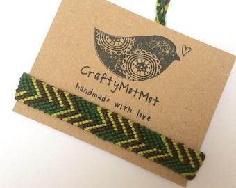 Unisex Bracelet Green Charcoal Macrame Bracelet Asymetrical Native Tribal Wish Bracelet Men Man Woven Knotted Neat Quality Cotton Fiber