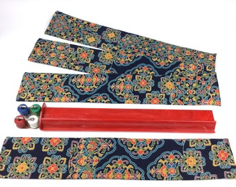 Set of 4 Mahjong Standard Rack Sleeves ~ Japanese Karakusa and flower pattern ~ Silk and Satin ~ Mah Jongg