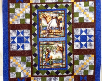 Horse Lover hand pieced  throw sized quilt
