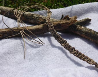 Custom made earth tone/beige hemp bracelet and anklet with beads