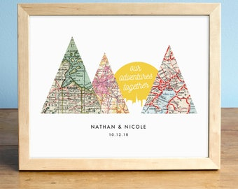 Adventure Together Sunset, 3 Map Mountain Print, Personalized Map Art, Wedding Gift Art, Custom Anniversary Print, Gift for Couple