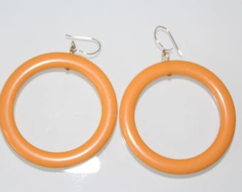 Vintage Butterscotch Bakelite Hoop Earrings